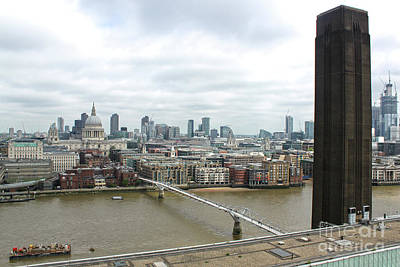 Photograph - St.pauls Cathedral, The Millennium Bridge And Tate Museum In London England by Gregory Dyer