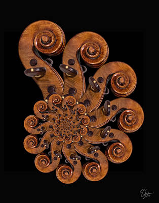 Photograph - Stradivarius Scroll Spiral by Endre Balogh