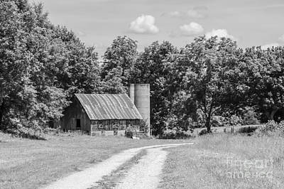 Photograph - Strafford Mo Farm Grayscale by Jennifer White