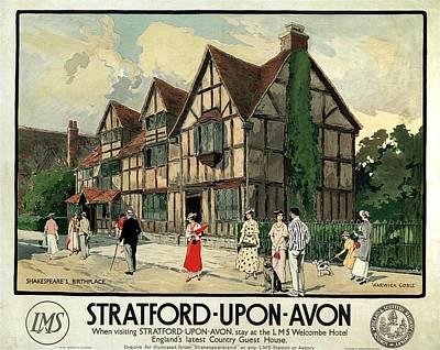 Mixed Media - Straford-upon-avon - London Midland And Scottish Railway Company - Retro Travel Poster - Vintage by Studio Grafiikka