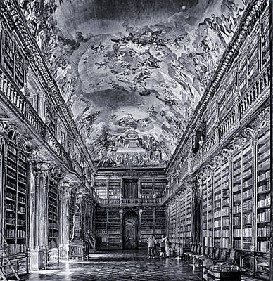 Photograph - Strahov Monastery Philosophical Hall Bw by C H Apperson