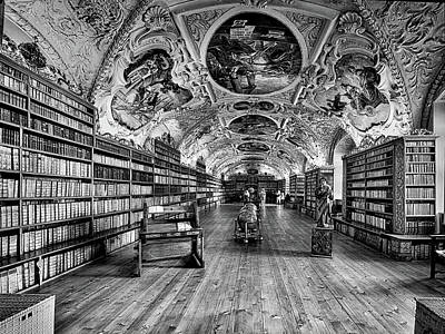 Photograph - Strahov Monastery Theological Hall Bw by C H Apperson
