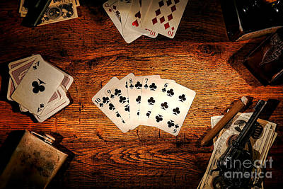 Card Photograph - Straight Flush by Olivier Le Queinec