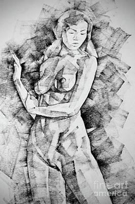 Drawing - Straight Girl Close Up Pose Drawing by Dimitar Hristov