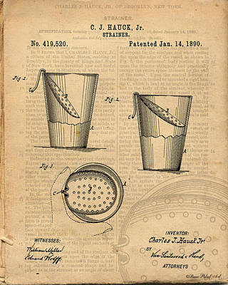 Strainer Vintage And Antique Patent Art Print by Michel Keck