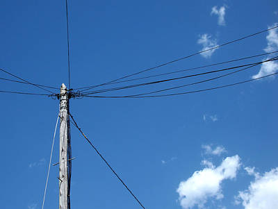 Photograph - Stranded 2 - Electricity Pole On Brilliant Blue Sky by Robert Schaelike