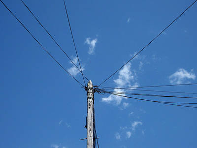 Photograph - Stranded - Electricity Pole On Brilliant Blue Sky by Robert Schaelike