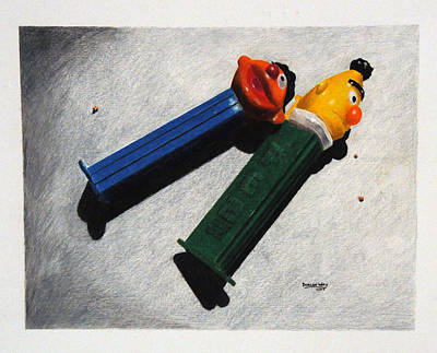 Pez Dispenser Drawing - Strange Bedfellows by Duncan  Way