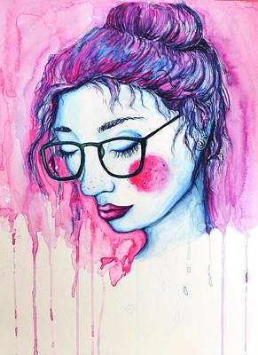 Strange Blue Girl With Hipster Glasses Original by Melissa Brazeau
