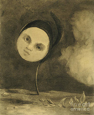 Crayons Drawing - Strange Flower  Little Sister Of The Poor by Odilon Redon
