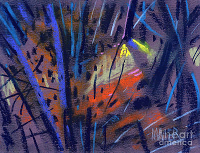 Tree Abstracts Drawing - strange Lights by Donald Maier