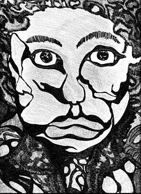 Black And White Drawing - Strange Man by Jessica Morgan