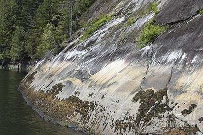 Strange Patterns On Rock Cliffs Print by Carolyn Brown