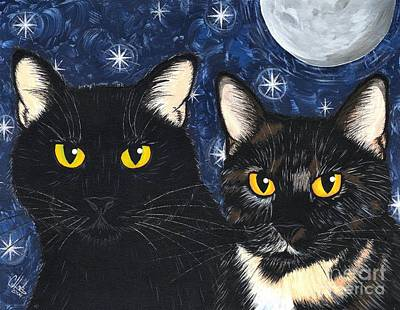 Art Print featuring the painting Strangeling's Felines - Black Cat Tortie Cat by Carrie Hawks