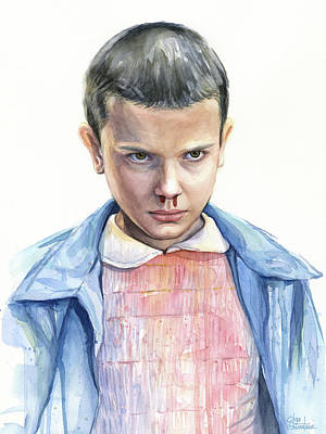 Science Fiction Painting - Stranger Things Eleven Portrait by Olga Shvartsur