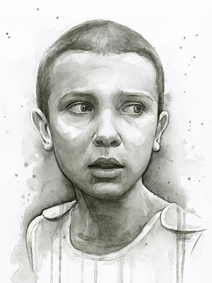 Stranger Things Eleven Upside Down Art Portrait Art Print by Olga Shvartsur
