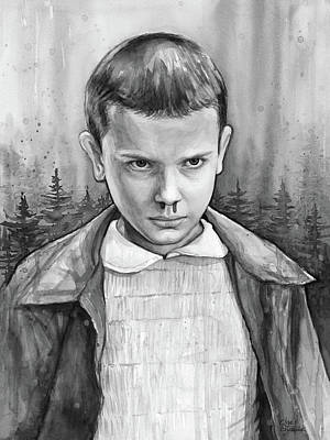 Science Fiction Painting - Stranger Things Fan Art Eleven by Olga Shvartsur