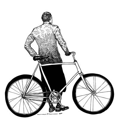 Bike Drawing - Stranger With Bike by Karl Addison