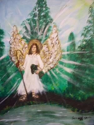 Primitive Angel Painting - St. Raphael The Archangel by Seaux-N-Seau Soileau
