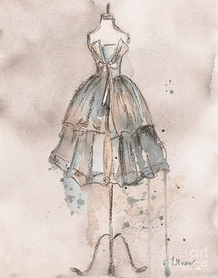 Watercolor Painting - Strapless Champagne Dress by Lauren Maurer
