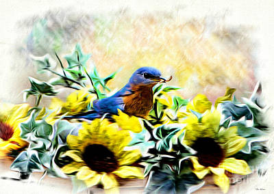 Bluebird Digital Art - Strapping Bluebird by Tina  LeCour