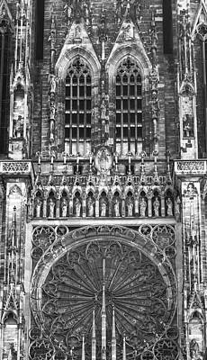 Photograph - Strasbourg Cathedral 01 B W by Teresa Mucha