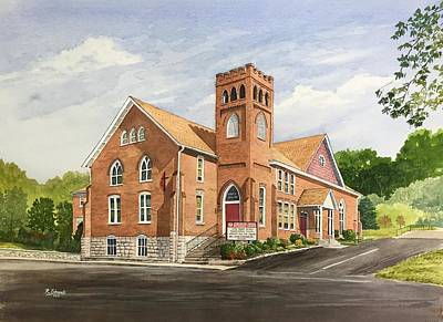 Brick Buildings Painting - Strasburg United Methodist Church by Raymond Edmonds