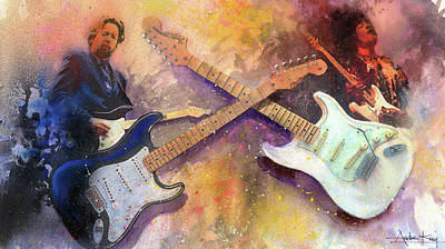 Fender Strat Painting - Strat Brothers by Andrew King
