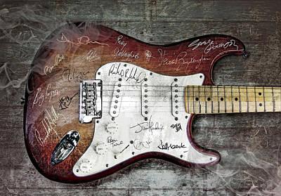 Autographed Digital Art - Strat Guitar Fantasy by Mal Bray