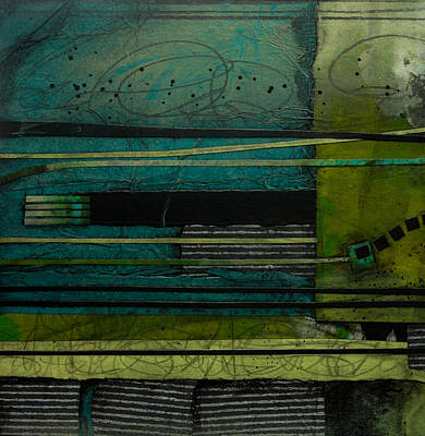 Lime Green Mixed Media - Strata No 1 by Laura  Lein-Svencner