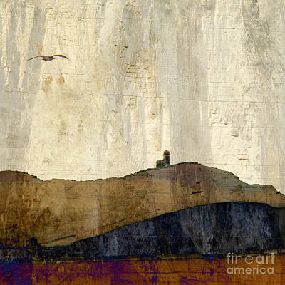 Strata With Lighthouse And Gull Art Print