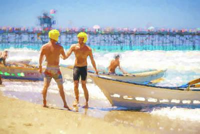 Digital Art - Strategize Lifeboat Race Watercolor by Scott Campbell