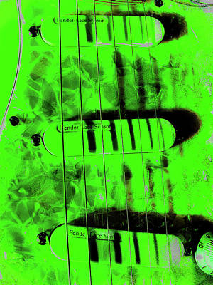 Photograph - Stratocaster Plus Green Pop Art by Guitar Wacky