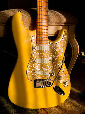 Digital Art - Stratocaster Plus In Graffiti Yellow by Guitar Wacky
