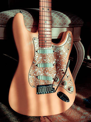 Digital Art - Stratocaster Plus In Shell Pink by Guitar Wacky