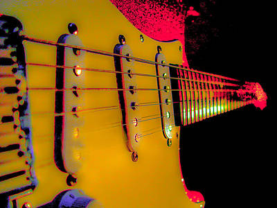Photograph - Guitar Pop Art Hot Rasberry Fire Neck Series by Guitar Wacky