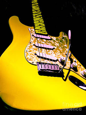 Photograph - Stratocaster Pop Art Hot Yellow by Guitar Wacky