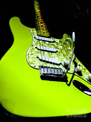 Photograph - Stratocaster Pop Art Lime by Guitar Wacky