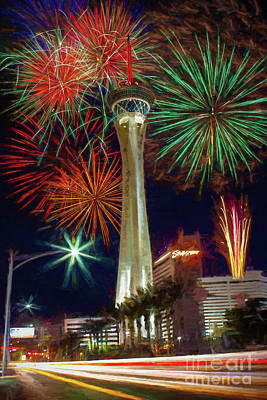 Painting - Stratosphere Fireworks 2016 by Robert Gaines