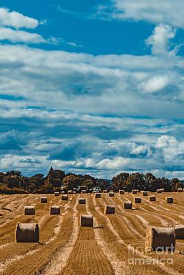 Straw Bales In A Field 2 Art Print