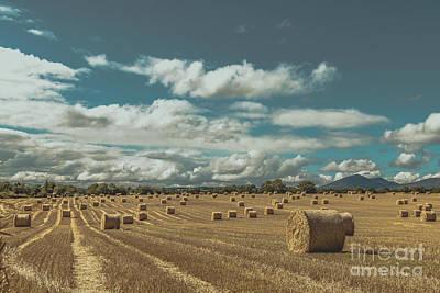 Straw Bales In A Field 3 Art Print