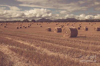 Straw Bales In A Field 4 Art Print