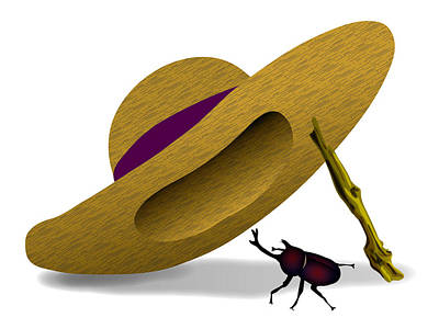 Digital Art - Straw Hat And Horn Beetle by Moto-hal