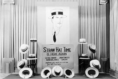 Photograph - Straw Hat Day Display by Underwood Archives