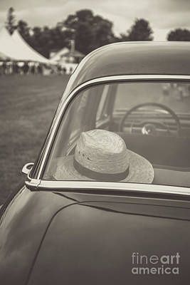 Photograph - Straw Hat Vintage Car Craftsbury Vermont by Edward Fielding