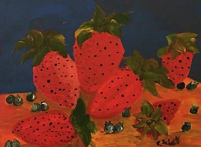 Strawberries And Blueberries Art Print