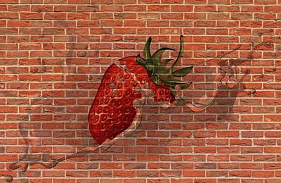 Mixed Media - Strawberries And Cream Amazing Graffiti by Clive Littin