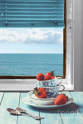 White China Cup Photograph - Strawberries By The Sea by Amanda Elwell