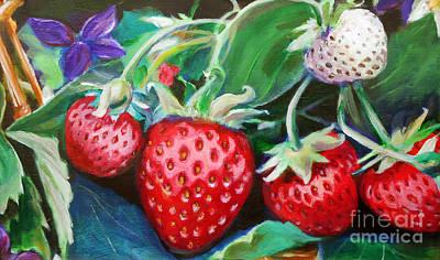 Wall Art - Painting - Strawberries by E Bradshaw