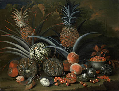 Painting - Strawberries In A Porcelain Bowl With Pineapples Melons Peaches And Figs Before A Tropical Landscape by George William Sartorius